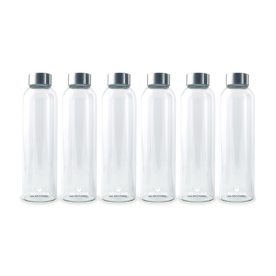 Premium Glass Water Bottle - 6 Pack
