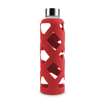 Premium Glass Water Bottle with Sleeve - Red