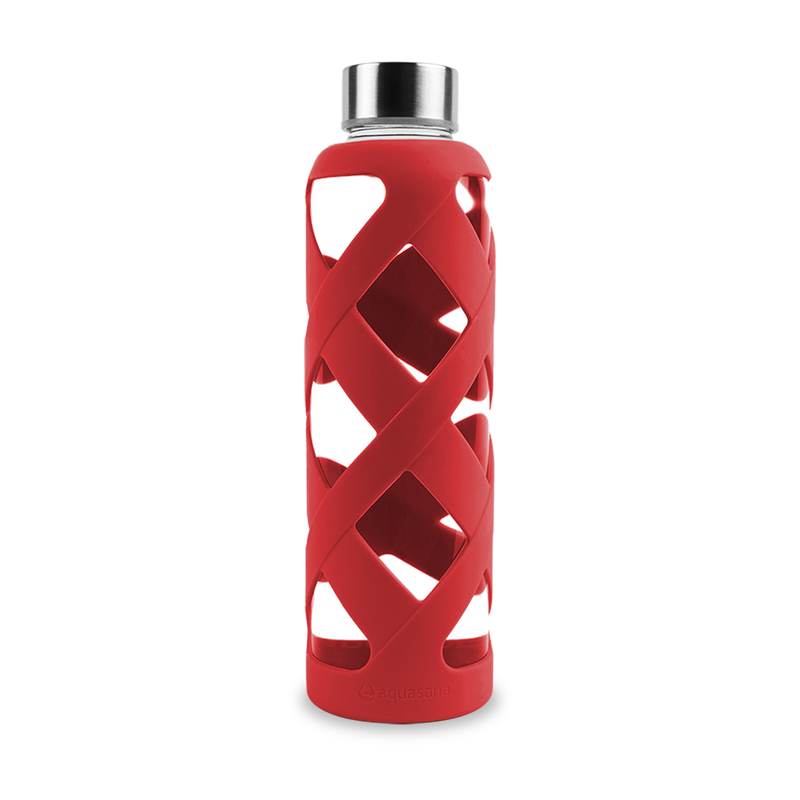 Premium Glass Water Bottle with Sleeve - Red image number 0