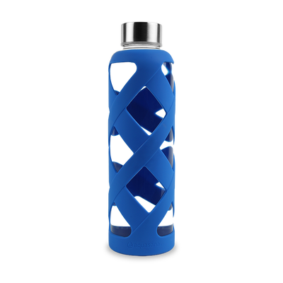 Premium Glass Water Bottle with Sleeve - Blue