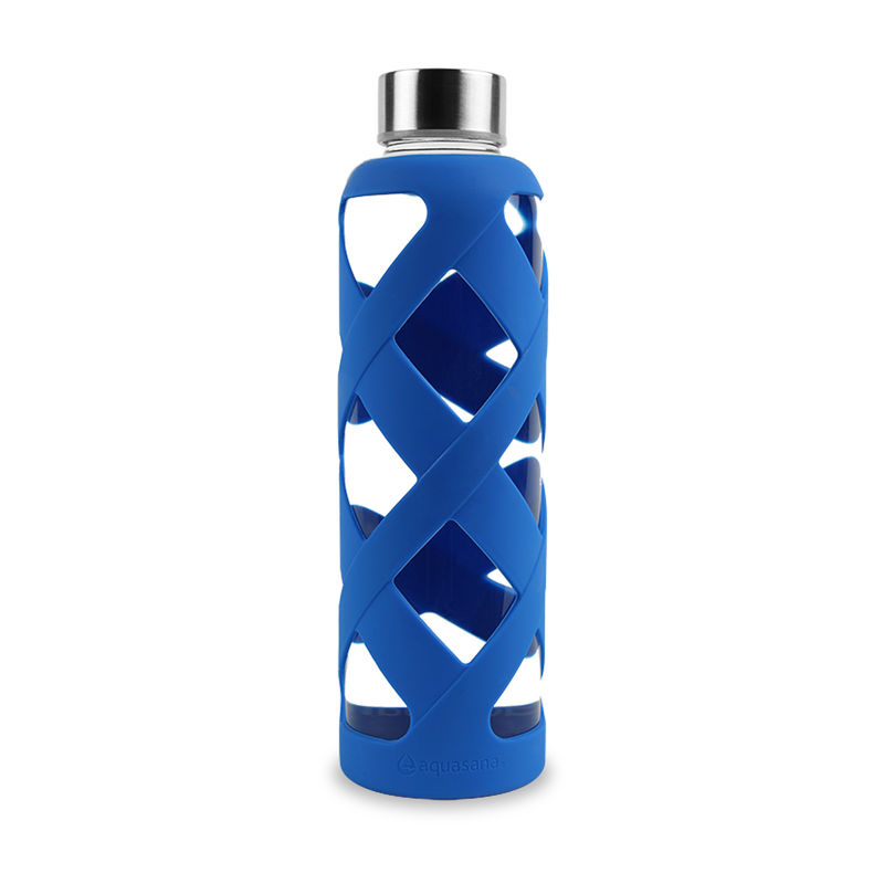 Premium Glass Water Bottle with Sleeve - Blue image number 0