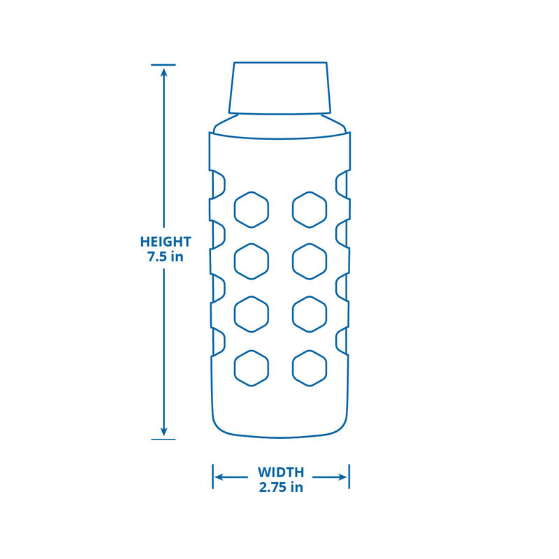 Glass Water Bottle with Sleeve - Translucent Blue image number 2