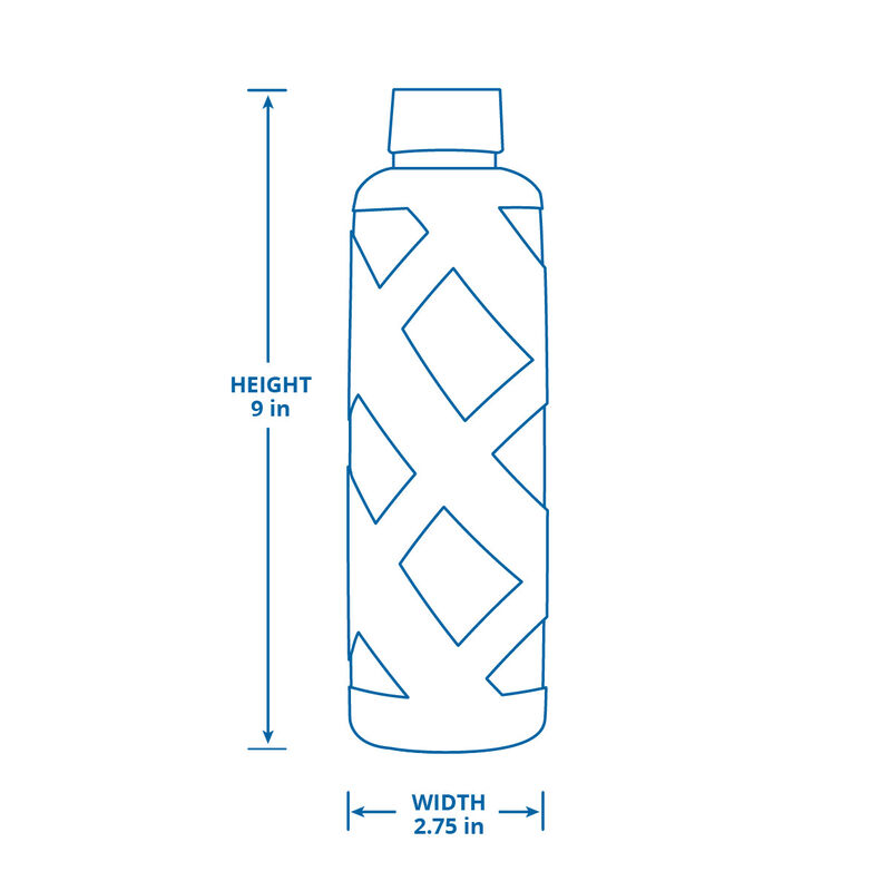Premium Glass Water Bottle with Sleeve - Blue image number 2