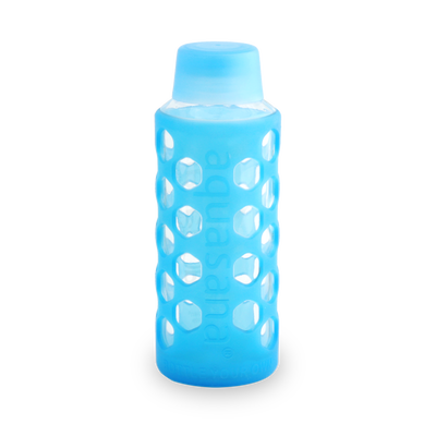 Glass Water Bottle with Sleeve - Translucent Blue