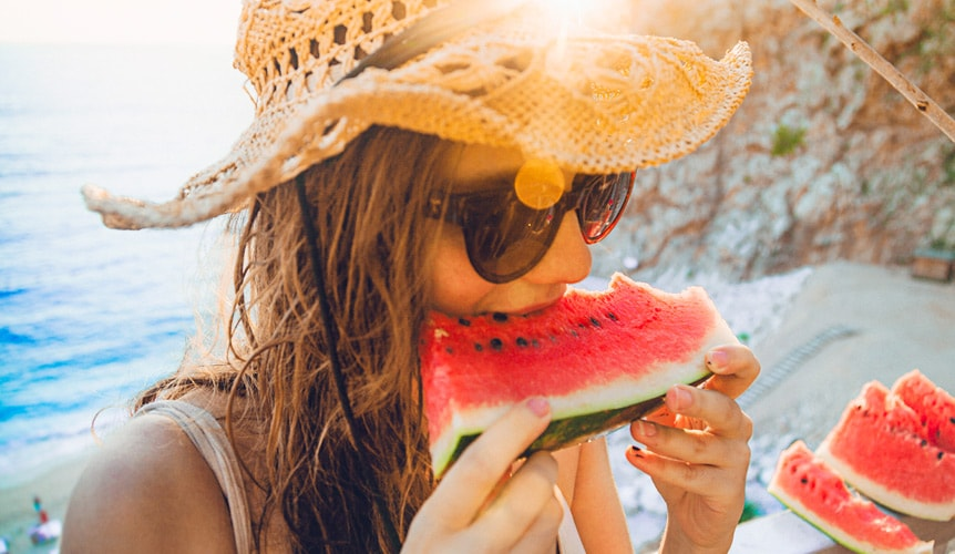 Eat fruits with water to stay hydrated.