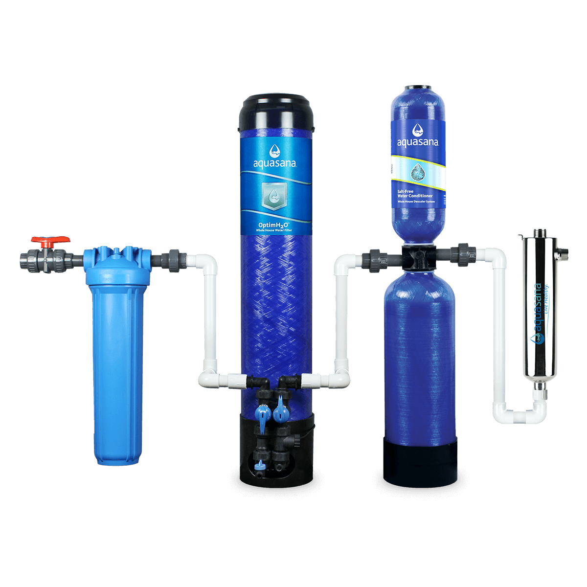 Image of OptimH2O® Whole House Water Filter System For Home With Salt-Free Water Conditioner & UV Filter Aquasana